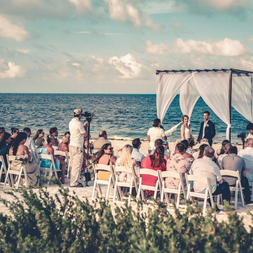 Wedding ceremony on the beach at Secrets Playa Mujeres, Cancun Mexico