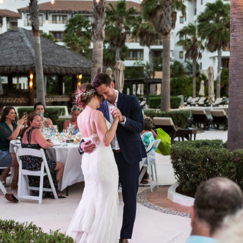 Bride and grooms first dance at Secrets Playa Mujeres resort