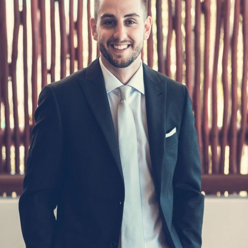 Portrait of groom before wedding at NOW Sapphire Riviera Cancun