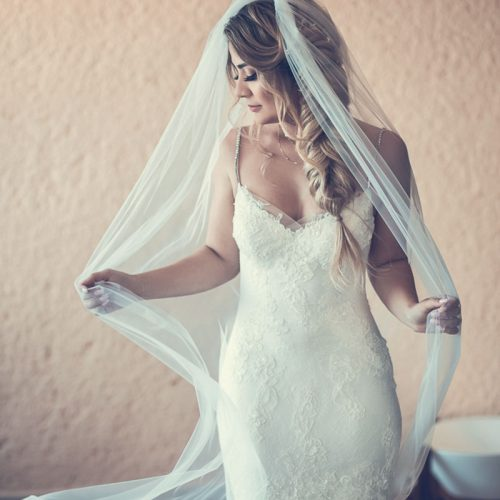 Portrait of bride before wedding at NOW Sapphire Riviera Cancun