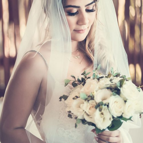 Portrait of bride before wedding.