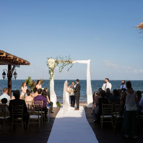 Wedding ceremony on tequila terrace at NOW Sapphire Riviera Maya Resort