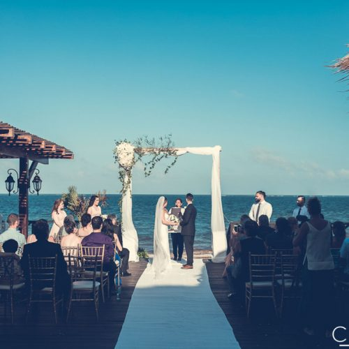 Wedding ceremony on tequila terrace at NOW Sapphire Riviera Cancun resort