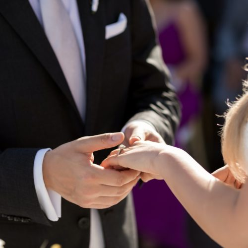 Close up of bride and grooms hands
