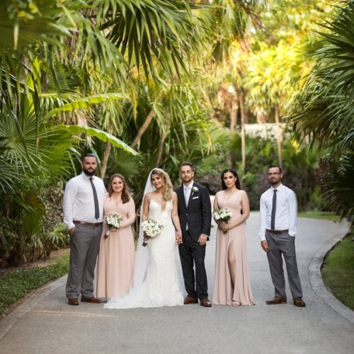 Bridal party in gardens at NOW Sapphire Riviera Maya Resort