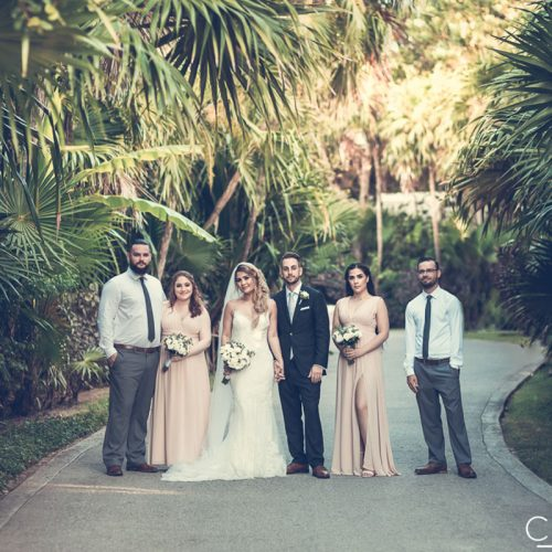 Wedding party in the gardens at NOW Sapphire Riviera Cancun resort