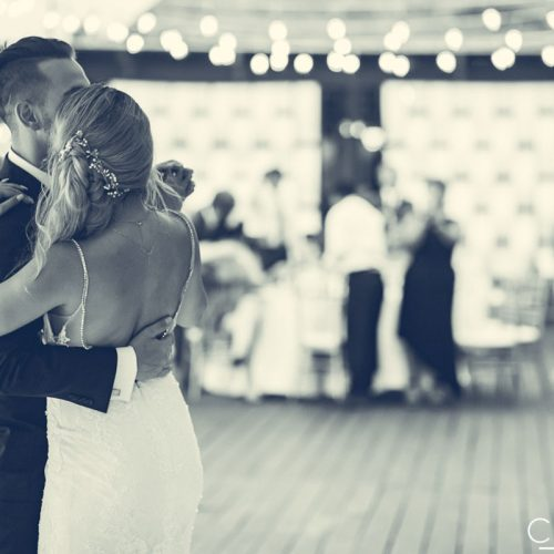 Bride and grooms first dance at wedding reception on Tequila terrace at NOW Sapphire Riviera Cancun resort