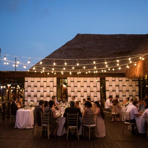 Wedding reception on tequila terrace at Bride in gardens at NOW Sapphire Riviera Maya Resort