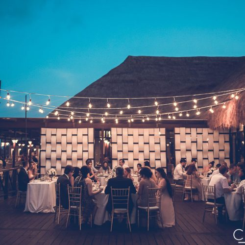 Wedding reception on tequila terrace at NOW Sapphire Riviera Cancun resort