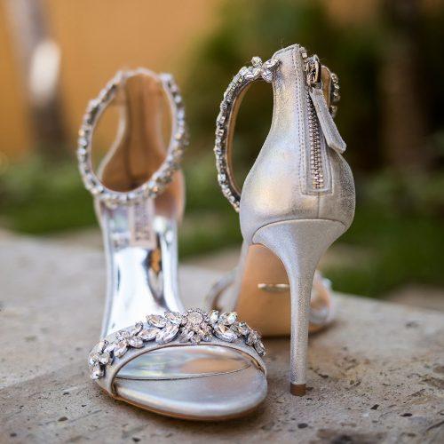 Close up of brides shoes