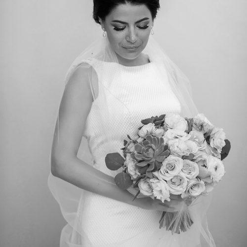 Portrait of bride before wedding ceremony.