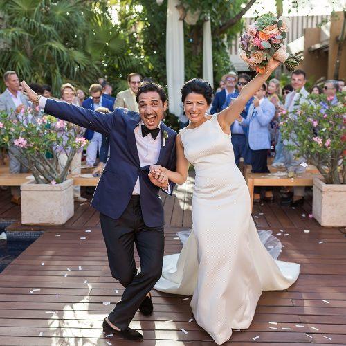 Bride and groom after wedding ceremony at Banyan Tree Mayakoba