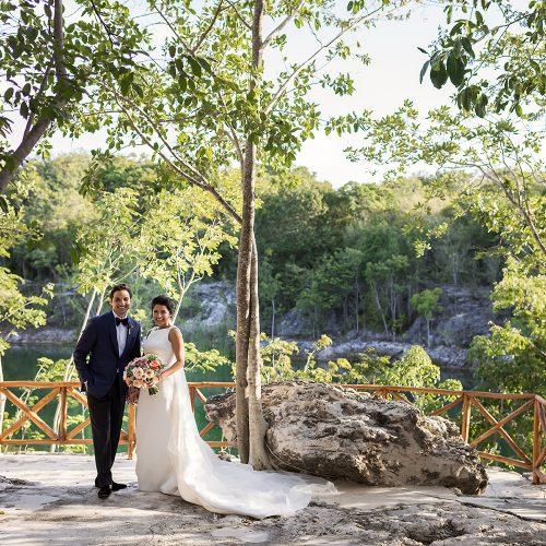 Bride and groom at Banyan Tree Mayakoba