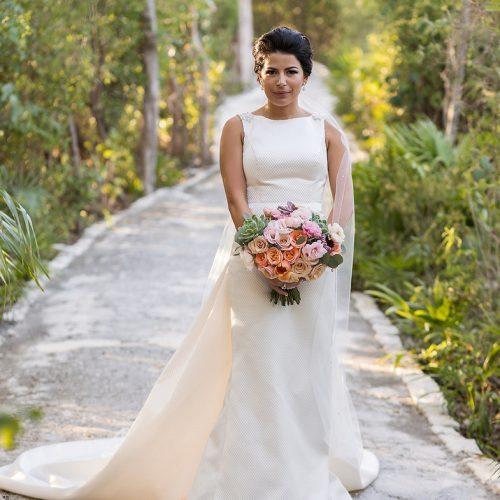 Portrait of bride on walkway at Banyan Tree Mayakoba