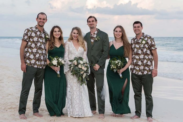 Groomsmen with bold patterned shirts